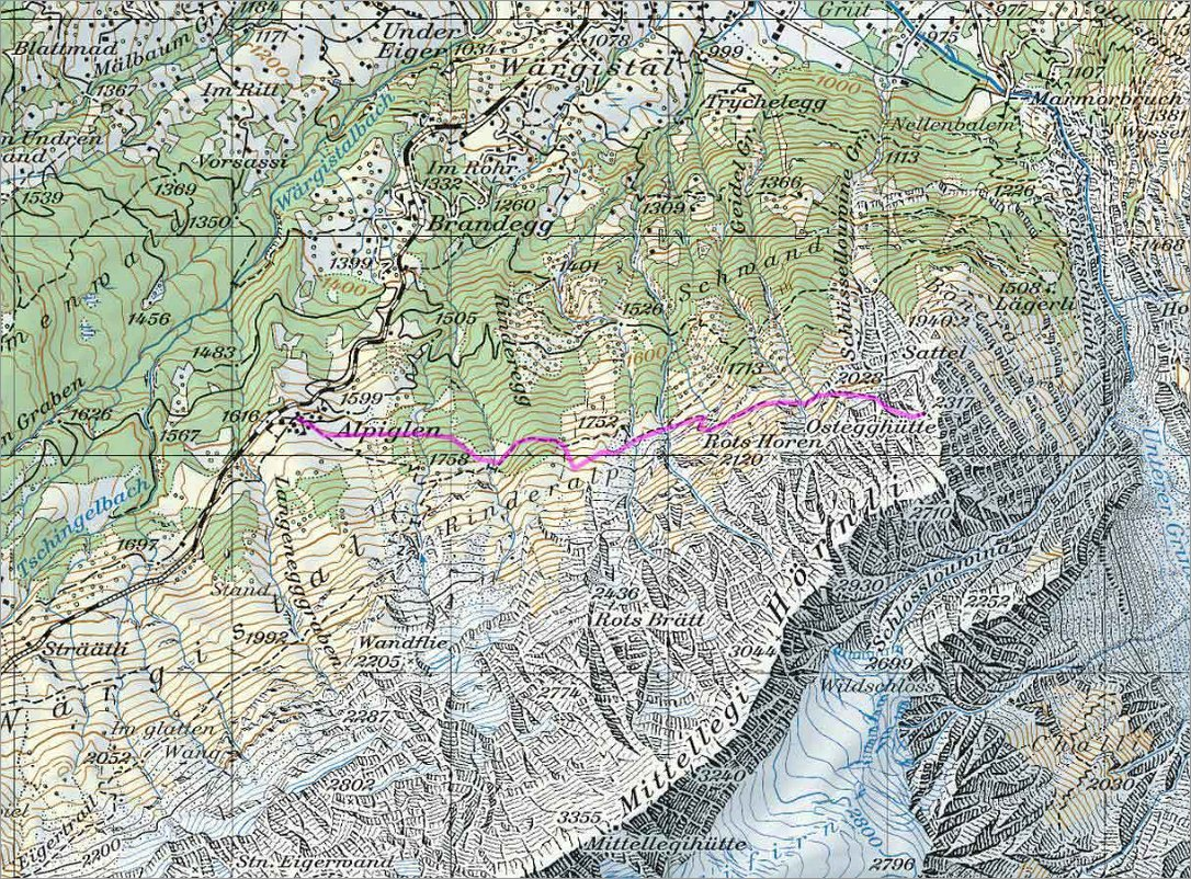 Klettersteig Map : Klettersteig ostegghütte
